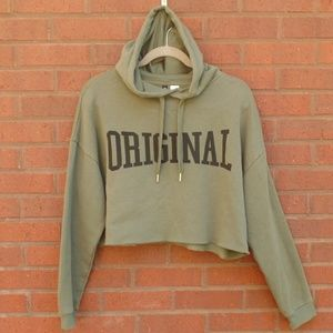 Divided Green Graphic Cropped Hoodie Sweatshirt L